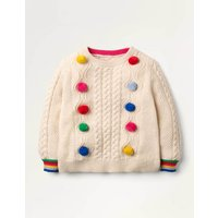 Rainbow Pompom Cable Jumper Ivory Christmas Boden, Beige