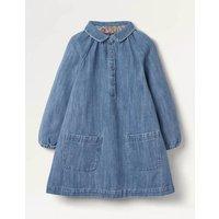 Collared Woven Dress Blue Girls Boden, Blue