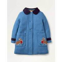 Embroidered Wool Coat Elizabethan Blue Bunnies Girls Boden, Elizabethan Blue Bunnies