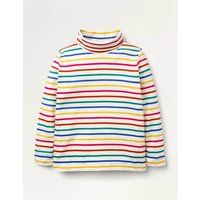 Roll Neck Supersoft T-shirt Rainbow Multi Stripe Boden, Rainbow Multi Stripe.