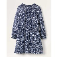 Smocked Spot Woven Dress Navy Girls Boden, Ivory