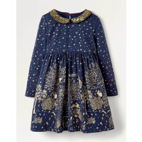 Sparkle Collar Party Dress Navy Christmas Boden, Gold