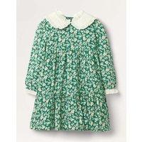 Lace Collar Tiered Woven Dress Sardinia Green Vintage Daisy Girls Boden, Sardinia Green Vintage Daisy