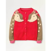 Cosy Festive Fun Cardigan Red Girls Boden, Red
