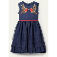 Embellished Tulle Party Dress College Navy Robin Girls Boden, College Navy Robin