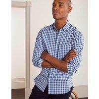 Slim Fit Poplin Pattern Shirt Duke Blue Gingham Side Stripe Men Boden, Duke Blue Gingham Side Stripe.