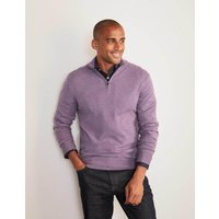Lambswool Half-Zip Blue Christmas Boden, Purple