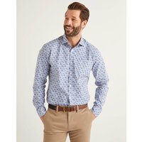 Boden Poplin Pattern Shirt Sky Blue Leaf Men Boden, Blue