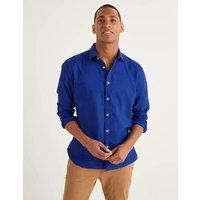 Linen Cotton Shirt Blue Men Boden, Blue