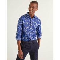 Linen Cotton Pattern Shirt Blue Men Boden, Blue