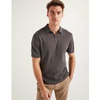 Finsbury Knitted Polo Charcoal Marl Men Boden, Black