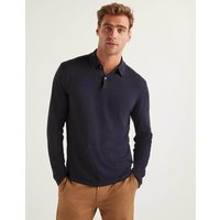 Boden Long Sleeve Knitted Polo Navy Men Boden, Navy