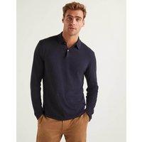 Boden Long Sleeve Knitted Polo Navy Men Boden, Navy
