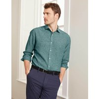 Boden Linen Cotton Shirt Green Men Boden, Blue