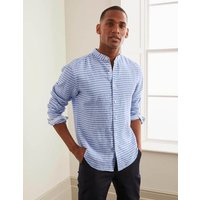 Linen Grandad Shirt Coastal Blue Stripe Men Boden, Coastal Blue Stripe