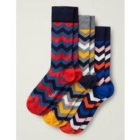Favourite Socks Multi Chevron Pack Men Boden, Multicouloured