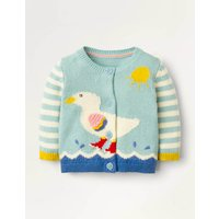 Fun Knitted Cardigan Blue Baby Boden, Blue