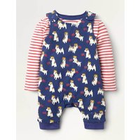Jersey Dungaree Set Navy Baby Boden, Blue