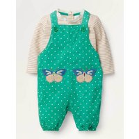 Applique Patch Dungaree Set Green Baby Boden, Green