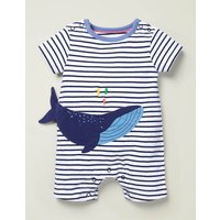 Animal Jersey Romper Blue Baby Boden, Navy