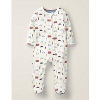 Printed Zip-up Sleepsuit Ivory Baby Boden, Beige