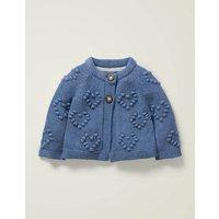 Textured Heart Cardigan Blue Baby Boden, Blue