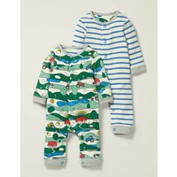 Twin Pack Rompers Multi Baby Boden, Multicouloured
