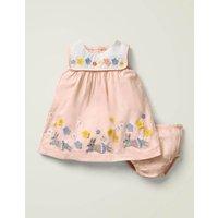 Flutter Applique Dress Pink Baby Boden, Pink