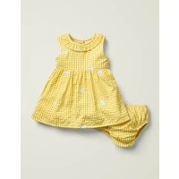 Gingham Embroidered Dress Yellow Girls Boden, yellow