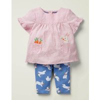 Woven Top and Legging Play Set Blue Baby Boden, Blue