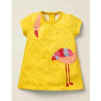 Big Applique Jersey Dress Yellow Baby Boden, yellow
