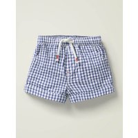 Baby Gingham Woven Shorts Blue Baby Boden, Blue