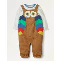 Owl Cord Dungaree Set Brown Baby Boden, Brown