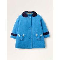 Appliqué Patch Wool Coat Elizabethan Blue Bunnies Baby Boden, Elizabethan Blue Bunnies