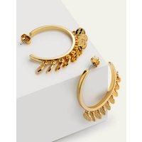 Mini Disc Hoop Earrings Gold Christmas Boden, Gold