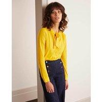 Rachel Tie Neck Jersey Shirt Yellow Women Boden, Yellow