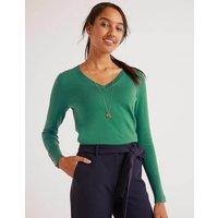 Boden Eldon Cotton V-neck Jumper Green Women Boden, Green