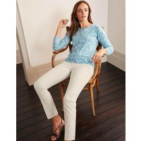 Eldon Cotton Crew Cardigan Blue Women Boden, Blue