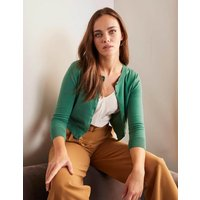 Eldon Cotton Crop Cardigan Green Women Boden, Green
