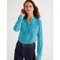 Silk Collarless Blouse Lomond Blue Women Boden, Lomond Blue