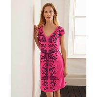 Tanya Embroidered Jersey Dress Pink Women Boden, Camel