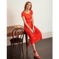 Tamara Jersey Wrap Midi Dress Orange Sunset, Polka Spot Women Boden, Orange Sunset, Polka Spot