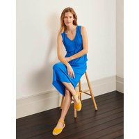Helen Linen Midi Dress Blue Women Boden, Blue