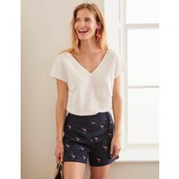 Flamingo Embroidered Shorts Navy Women Boden, Navy