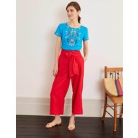 Laura Linen Embroidered Top Blue Women Boden, Blue
