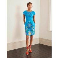 Laura Linen Embroidered Dress Blue Lagoon Women Boden, Blue Lagoon