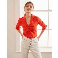 Letitia Linen Shirt Orange Women Boden, Orange