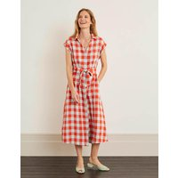 Cassidy Linen Dress Red Women Boden, Orange