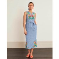 Cora Embroidered Midi Dress Chambray Women Boden, Chambray