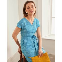 Lara Linen Dress Bold Blue, Tropical Leaf Women Boden, Bold Blue, Tropical Leaf